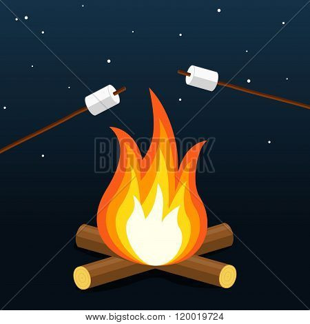 Bonfire with marshmallow. Camping grill marshmallow. Marshmallow outdoor campfire night. Vector Illu