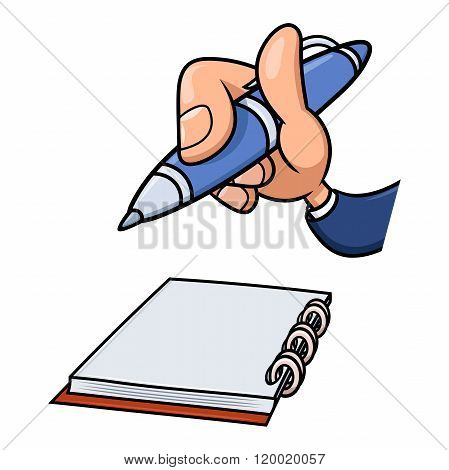 Hand with pen and notepad 2