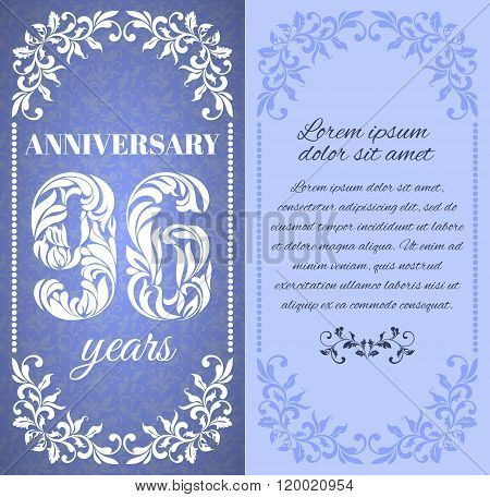 Luxury Template With Floral Frame And A Decorative Pattern For The 96 Years Anniversary. There Is A