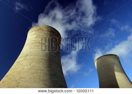 Two Cooling Towers at a coal-fired power station