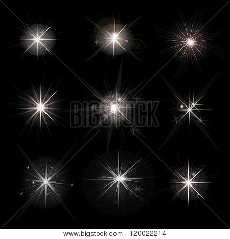 Shine stars with glitters and sparkles. Effect twinkle design glare scintillation element sign graph