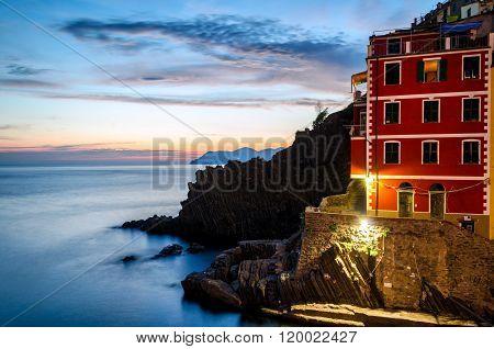 Riomaggiore (Cinque Terre Liguria Italy) at twilight