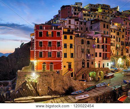 Riomaggiore (Cinque Terre Liguria Italy) at twilight ** Note: Visible grain at 100%, best at smaller sizes