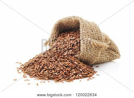 Flax seeds in a bag isolated