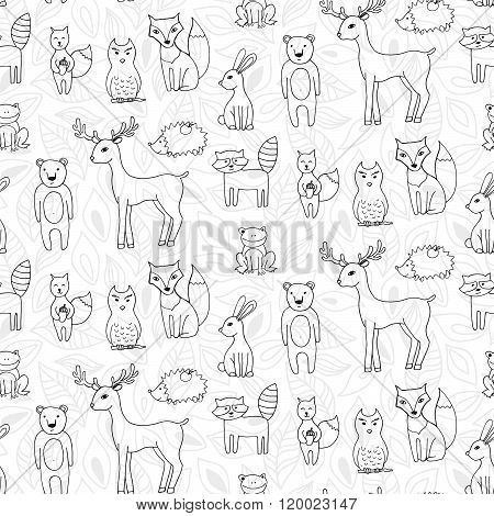 Seamless Pattern With Different Anumals In A Forest In Cartoon Style