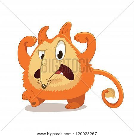Fantasy, round and cute character with ears and long nose, reminiscent of a red fox vs dog. Angry, f
