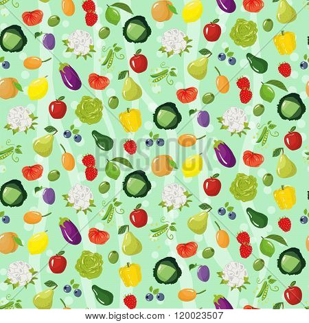 Seamless Pattern With Different Vegetables, Fruits And Berries.