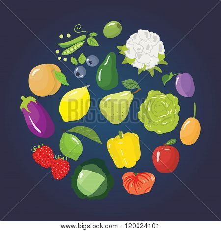 Set Of Different Fruits, Vegetables And Berries.