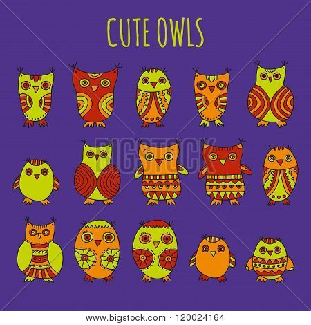 Set of bright cartoon hand drawn owls and owlets on a violet background