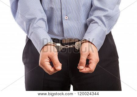 Close Up Of A Man In Handcuffs Arrested, Isolated