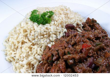 Chilli Con Carne & Basmati Rice (selective focus on centre)