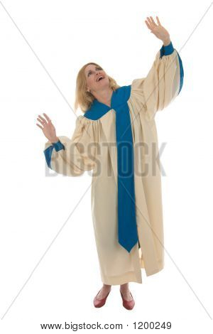 Blond Woman Praising God