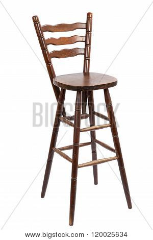 Old Wooden Bar Stool, Isolated On White