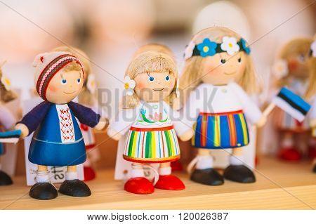 Colorful Estonian Wooden Dolls At market in Tallinn, Estonia