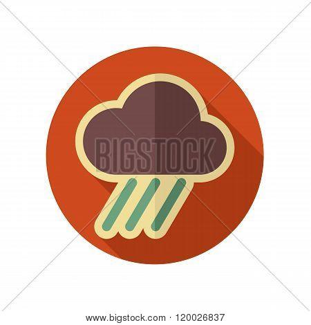 Rain Cloud Flat Icon. Downpour, Rainfall. Weather