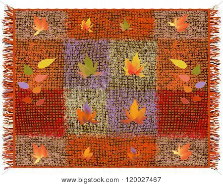 Weave Grunge Striped And Checkered Motley Carpet With Applique Of Abstract Leafs And Fringe