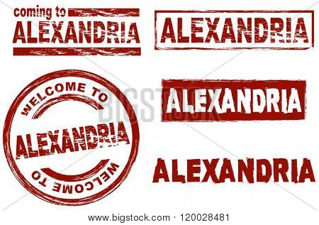 Set of stylized ink stamps showing the  city of Alexandria
