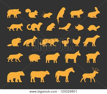 Gold silhouettes set of domestic farm and wild animals. Vector silhouettes animals isolated. Gold farm and wild animals. Icon cow bear beaver sheep chicken and others.
