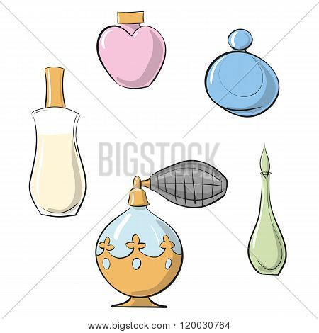 Vector EPS 10 illustration perfume sprayer and four perfume bottles hand drawn color set