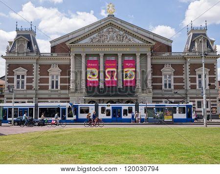 View of Concertgebouw concert hall in Amsterdam