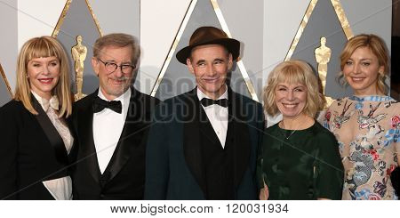 LOS ANGELES - FEB 28:  Kat Capshaw, Steven Spielberg, Mark Rylance at the 88th Annual Academy Awards - Arrivals at the Dolby Theater on February 28, 2016 in Los Angeles, CA