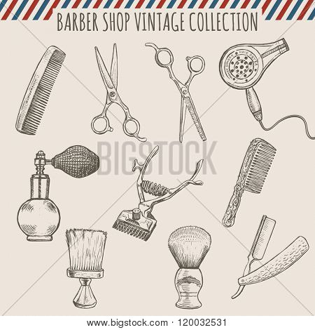 Vector barber shop vintage tools collection (comb, scissors, hair trimmer, razor, shaving brush)