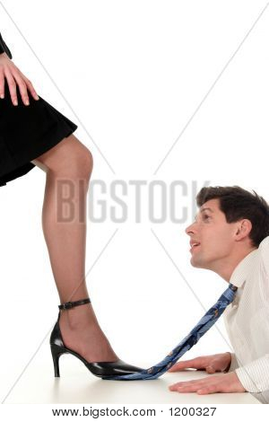 Businesswoman Dominating Businessman