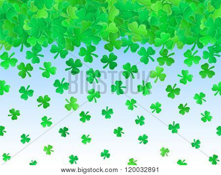 Patricks Day Green Clover Background Cartoon 2