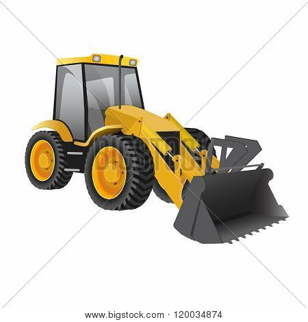 Building under construction excavator technics vector illustration. Building excavator truck vector. Under construction vector concept.Excavator vector machine isolated.