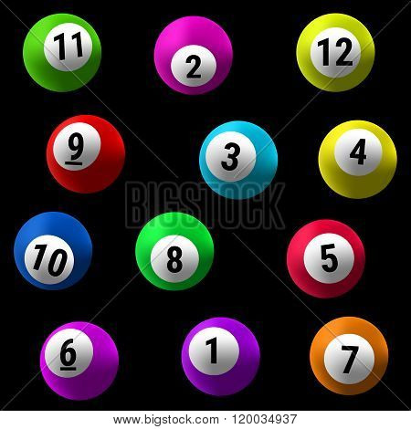 Lottery Number Balls isolated on black background. Vector illustration.