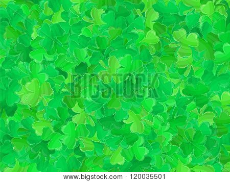Patricks Day Green Clover Background Cartoon 1