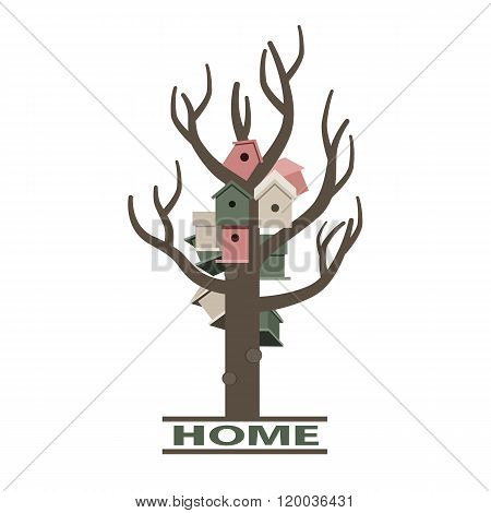 Card with nesting boxes on the tree