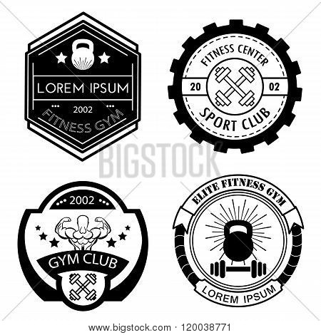 Set of different sports and fitness black and white logo templates