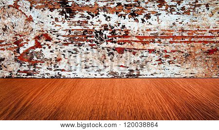 Orange, rustic, vintage, paint backdrop - abstract panorama with dimishing perspective motion blur.