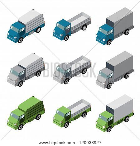 Truck cargo isometric truck set.The truck with an open body.