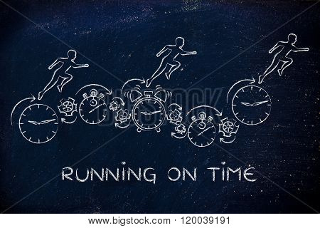 People Running On Clocks, Stopwatches And Alarms, Running On Time