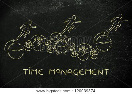 People Running On Clocks, Stopwatches And Alarms, Time Management