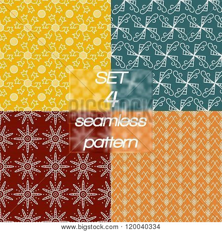 Set of four linear simple seamless pattern.