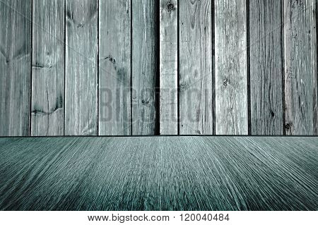 Rustic, pale blue, wooden backdrop - pastel background design - wood floor with diminishing perspective, blur, motion effect.