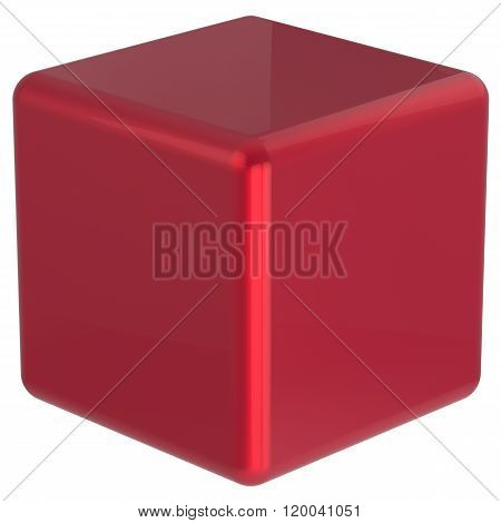Cube geometric shape dice block basic box solid square brick figure simple minimalistic element single red shiny blank object