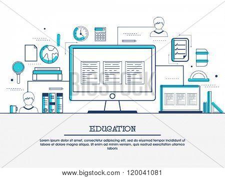 Online education, distance learning, retraining concepts web banner, hero image, website slider. Line art vector illustration.