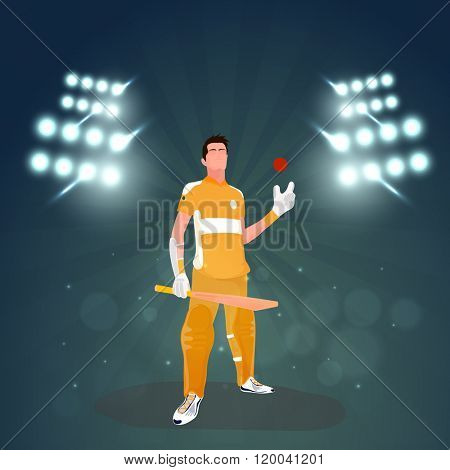 Illustration of Batsman holding bat and ball on sadium lights, rays background for Cricket Sports concept.
