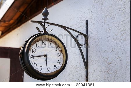 Old Clock On House Wall, Station Clock