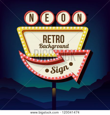 Vintage advertising road billboard with lights. Retro 3d sign.