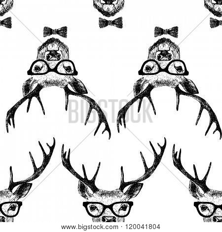 Seamless  pattern with hand drawn dressed up deer  in hipster style