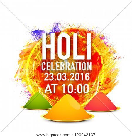 Colourful abstract design and dry colours (Gulaal) decorated Poster, Banner or Flyer design with party details for Indian Festival, Happy Holi celebration.