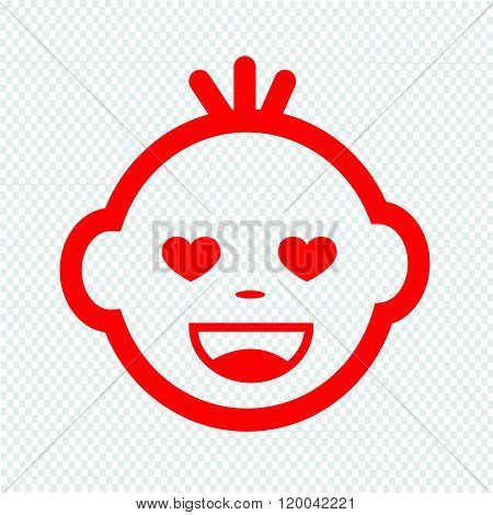 Cute Baby Face Emotion Icon Illustration symbol design.
