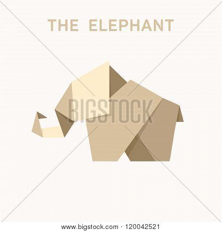 Animal Origami Elephant Into Flat Illustration Logo Design