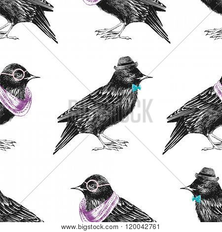 seamless pattern with dressed up hand drawn starling