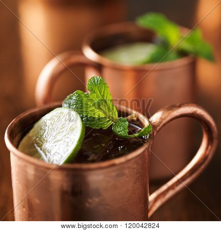 moscow mule in copper cop close up